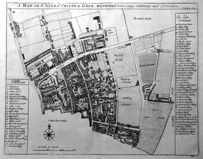 ANTIQUE MAP: A MAP OF ST. GILES'S  CRIPPLE GATE. WITHOUT. WITH LARGE ADDITIONS AND CORRECTIONS.