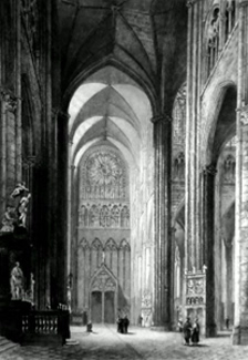 ANTIQUE PRINT: AMIENS CATHEDRAL. SOUTH TRANSEPT FROM THE NORTH.