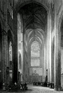 ANTIQUE PRINT: BEAUVAIS CATHEDRAL. VIEW FROM THE NORTH TRANSEPT.