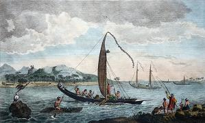 Antique print of Tahiti