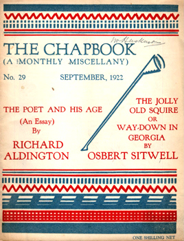 MONRO, Harold (Harold Edward), 1879-1932 – editor : THE CHAPBOOK (A MONTHLY MISCELLANY). NUMBER 29 : SEPTEMBER 1922.
