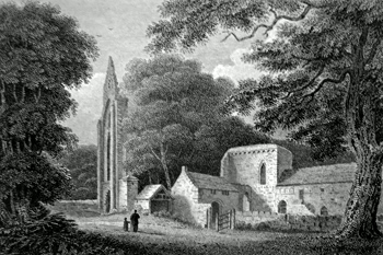 ANTIQUE PRINT: VALLE CRUCIS ABBEY, DENBIGHSHIRE.