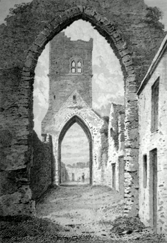 ANTIQUE PRINT: ST. MARY'S CHURCH, DROGHEDA, CO. OF LOUTH.