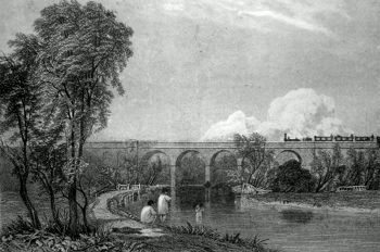 ANTIQUE PRINT: VIADUCT OVER THE RIVER COLNE, NEAR WATFORD.