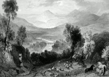 ANTIQUE PRINT: THE VALE OF LLANGOLLEN.