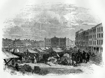 ANTIQUE PRINT: MARKET-PLACE AND EXCHANGE, NOTTINGHAM.
