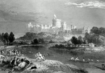 ANTIQUE PRINT: WINDSOR, FROM THE THAMES ABOVE THE BROCAS.