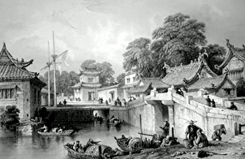 ANTIQUE PRINT: ANCIENT BRIDGE, CHAPOO [ZHAPU].