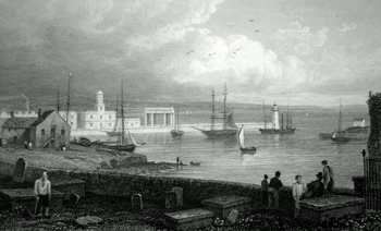 ANTIQUE PRINT: THE HARBOUR, HOLYHEAD.