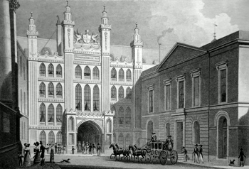 ANTIQUE PRINT: THE GUILD-HALL. TO THE LORD MAYOR, ALDERMAN AND LIVERY OF LONDON, THIS PLATE IS RESPECTFULLY DEDICATED.