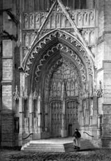 ANTIQUE PRINT: BEAUVAIS CATHEDRAL. NORTHERN ENTRANCE.