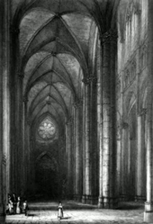 ANTIQUE PRINT: AMIENS CATHEDRAL. SOUTH AISLE OF NAVE, LOOKING WEST.