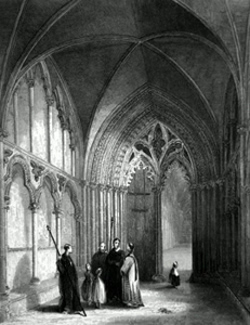ANTIQUE PRINT: ELY CATHEDRAL. THE GALILEE PORCH.