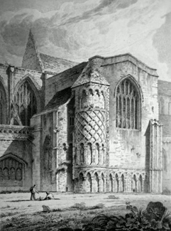 ANTIQUE PRINT: NORTH TRANSEPT OF THE PRIORY CHURCH, CHRIST-CHURCH. HAMPSHIRE.