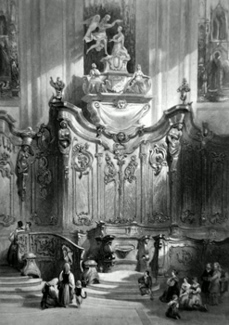 ANTIQUE PRINT: SCREEN IN MAYENCE CATHEDRAL, RHINE.