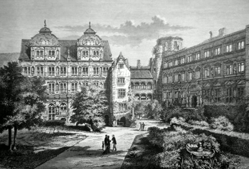 ANTIQUE PRINT: HEIDELBERG CASTLE (INNER COURT).