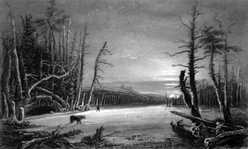 ANTIQUE PRINT: WINTER SCENE ON THE CATTERSKILLS.