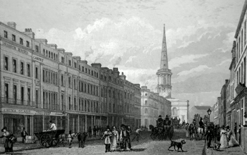 ANTIQUE PRINT: PART OF LORD STREET, WITH ST. GEORGE'S CHURCH IN THE DISTANCE. TO THE MEMORY OF THE LATE J. B. HOLLINSHEAD, ESQ. THIS PLATE IS INSCRIBED BY THE PUBLISHERS.