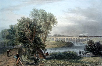 ANTIQUE PRINT: [RUGBY] THE AVON VIADUCT.
