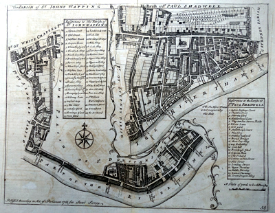ANTIQUE MAP: THE PARISH OF ST JOHNS WAPPING / THE PARISH OF ST PAUL SHADWELL.