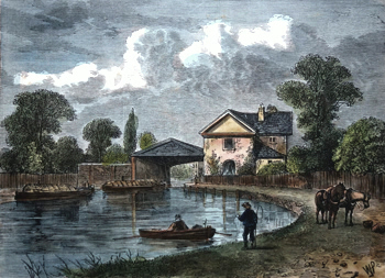 ANTIQUE PRINT: PADDINGTON CANAL, 1820.