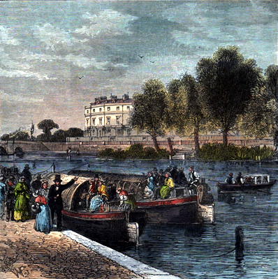 ANTIQUE PRINT: THE PADDINGTON CANAL, 1840.