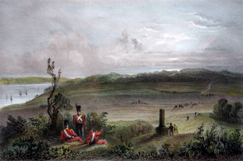 ANTIQUE PRINT: THE PLAINS OF ABRAHAM, NEAR QUEBEC. (THE SPOT WHERE GENERAL WOLFE FELL.)