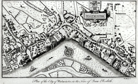 ANTIQUE MAP: PLAN OF THE CITY OF WESTMINSTER IN THE TIME OF QUEEN ELIZABETH.