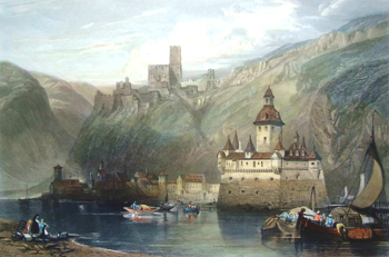 ANTIQUE PRINT: CAUB, CASTLE OF GUTENFELS, AND THE PFALZ.