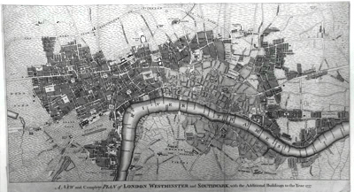 ANTIQUE MAP: A NEW AND COMPLETE PLAN OF LONDON WESTMINSTER AND SOUTHWARK WITH THE ADDITIONAL BUILDINGS TO THE YEAR 1777.