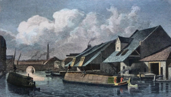 ANTIQUE PRINT: CITY BASIN, REGENT'S CANAL, TO SIR CULLING SMITH BART. THIS PLATE IS RESPECTFULLY INSCRIBED.