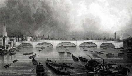 ANTIQUE PRINT: NEW LONDON BRIDGE.