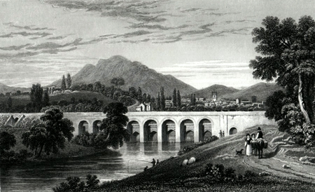 Antique print of Abergavenny, Monmouthshire, Wales