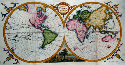 Antique map of the world by Thomas Kitchin