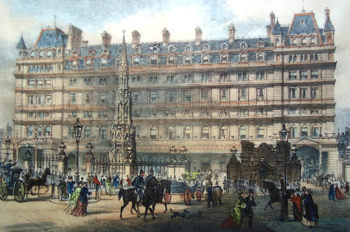 ANTIQUE PRINT: CHARING CROSS RAILWAY STATION.