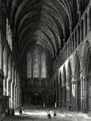 ANTIQUE PRINT: WELLS CATHEDRAL. THE NAVE.