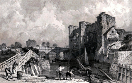 Antique print of Newark, Nottinghamshire