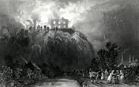 ANTIQUE PRINT: NOTTINGHAM CASTLE.