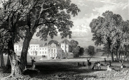 ANTIQUE PRINT: WELBECK ABBEY, NOTTINGHAMSHIRE.