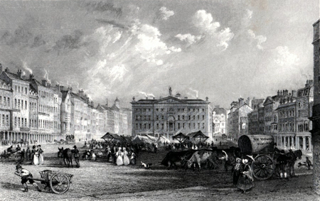 ANTIQUE PRINT: MARKET PLACE, NOTTINGHAM.
