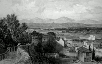 ANTIQUE PRINT: VIEW FROM THE WALLS OF CHESTER – LOOKING INTO WALES.