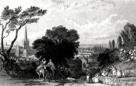 ANTIQUE PRINT: DARLINGTON, FROM THE ROAD TO YARM.