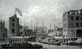 ANTIQUE PRINT: ENTRANCE TO THE REGENT'S CANAL, LIMEHOUSE, TO THE REGENTS CANAL COMPANY THIS PLATE IS DEDICATED.