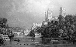Antique print of Durham