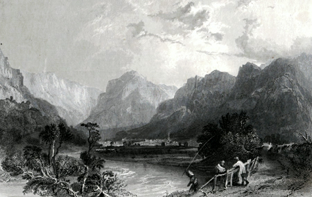 ANTIQUE PRINT: EAGLE CRAG FROM ROSTHWAITE, BORROWDALE.
