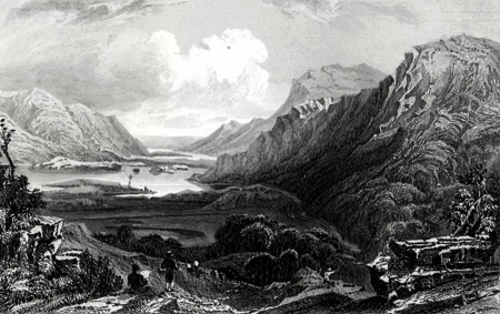 ANTIQUE PRINT: THE UPPER LAKE OF KILLARNEY, IRELAND. TAKEN ON THE APPROACH FROM KENMARE.