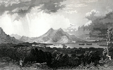ANTIQUE PRINT: THE LOWER LAKE OF KILLARNEY, LOOKING OVER THE MUCRUSS DEMESNE.
