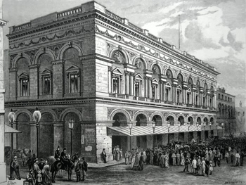 ANTIQUE PRINT: FREE TRADE HALL, MANCHESTER.