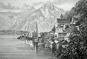 ANTIQUE PRINT: HALLSTATT AND ITS LAKE.