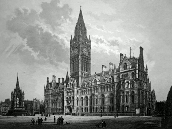 ANTIQUE PRINT: THE NEW TOWN HALL, MANCHESTER.